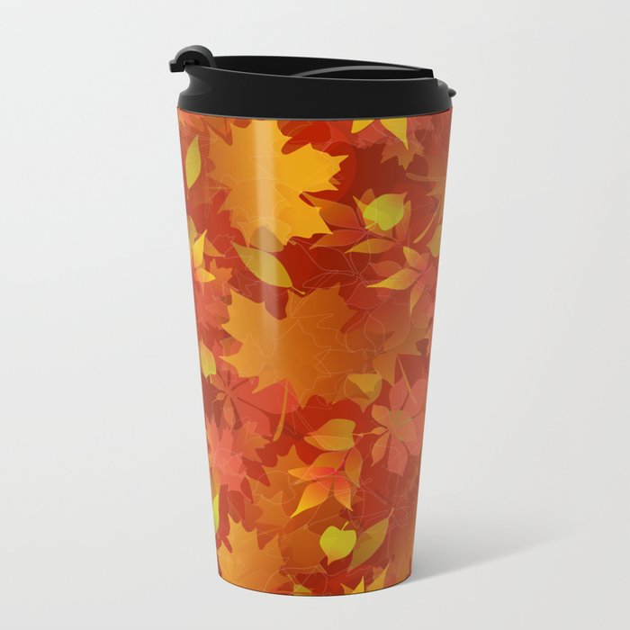 Autumn Leaves Carpet Metal Travel Mug