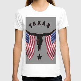 Patriotic American Flag Texas Longhorn Abstract Art T-shirt