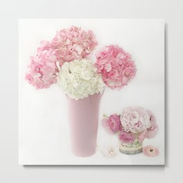 Shabby Chic Pink and White Hydrangeas Floral Print Home Decor Metal Print