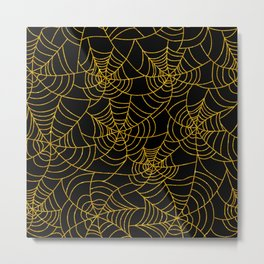Gold And Black Spiderweb Cobweb Halloween Metal Print