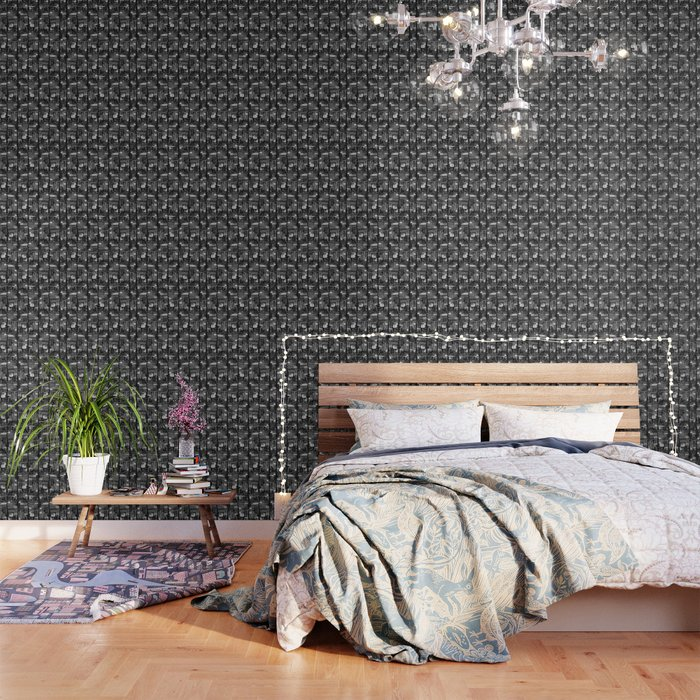 Black and White Linear Ethnic Print Pattern Wallpaper