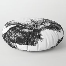 Pine Tree Black & White Floor Pillow