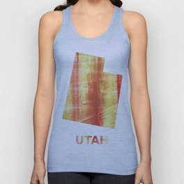 Utah map outline Red Yellow colorful watercolor texture Unisex Tank Top