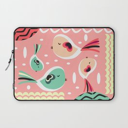 Funny birds in pink and blue Laptop Sleeve