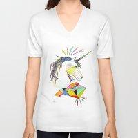 unicorn V-neck T-shirts featuring Unicorn by Belén Segarra