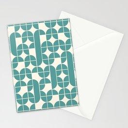 Mid Century Modern Geometric Pattern Cyan Stationery Cards