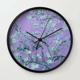 """Van Gogh's """"Almond blossoms"""" with purple background Wall Clock"""