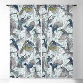 hum sun honey birds blue Blackout Curtain