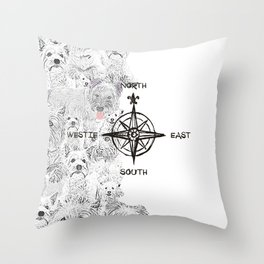 North South East & Westie Dog Throw Pillow