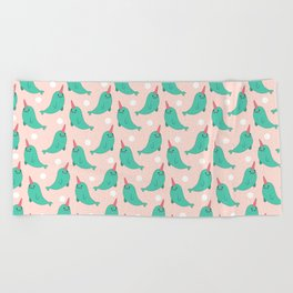 Narwhal Loves You Beach Towel