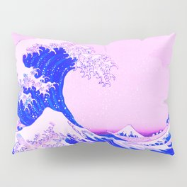 the great wave remix in baby pink and blue Pillow Sham