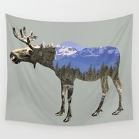 moose Wall Tapestries featuring MOOSE by James Wetherington