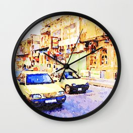 Aleppo: Taxi through the streets of Aleppo Wall Clock