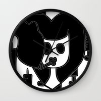 pulp fiction Wall Clocks featuring Pulp Fiction by Sky Nash