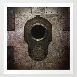 M1911 Colt 45 Muzzle On Rusted Riveted Metal Art Print