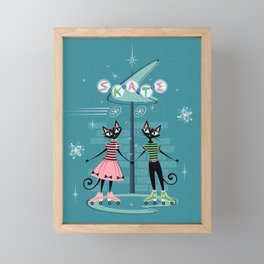 Vintage Kitty Skate Date ©studioxtine Framed Mini Art Print