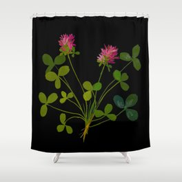 Mary Delany Botanical Vintage Flower Floral Collage Trifolium Pratense Shower Curtain