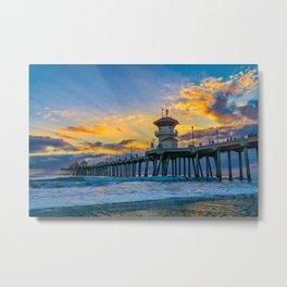 Colors Over Huntington Pier at Sunset Metal Print