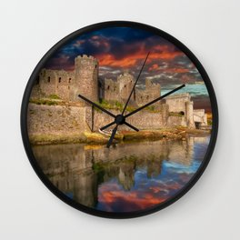 Conwy Castle Sunset Wall Clock