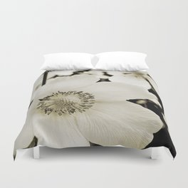 white anemone Duvet Cover