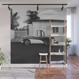 The Cuban Kingpin - Vintage car in the streets of Cuba (black & white) Wall Mural