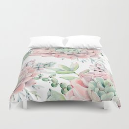 Pink Succulents by Nature Magick Duvet Cover