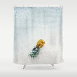 Pineapple at beach Shower Curtain