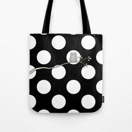 Out on a Limb - Polka Dot Owl Moon Tote Bag