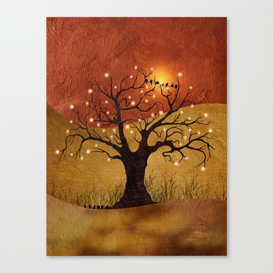sunset and lights Canvas Print