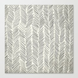 Herringbone Black on Cream Canvas Print