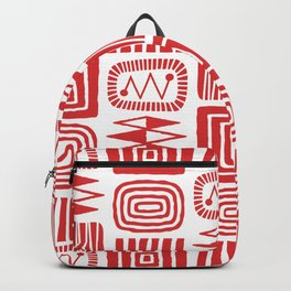 Retro Mid Century Modern Check Pattern 240 Red Backpack