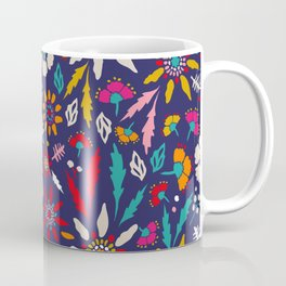Chrysanthemum Garden in Blue Coffee Mug