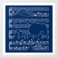 The Moonlight Sonata Blue Art Print
