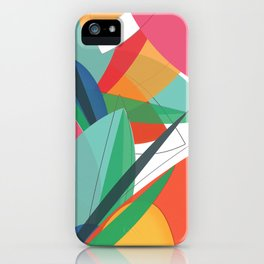 Abstract multicolored tropical flower, bird of paradise, superimposed shapes and transparencies iPhone Case