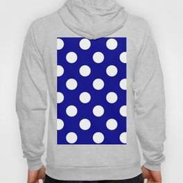 Large Polka Dots - White on Dark Blue Hoody