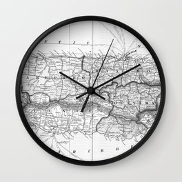 Vintage Map of Puerto Rico (1901) BW Wall Clock