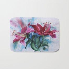 Wine Lilies In Pastel Watercolour Bath Mat
