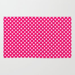 Small White Crosses on Hot Neon Pink Rug