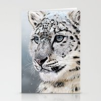 snow leopard Stationery Cards featuring Snow Leopard by Aaron Jason