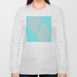 Abstract modern pink Tropical Exotic Palm Leaves on aqua Long Sleeve T-shirt
