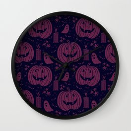 Spooky Halloween - purple  Wall Clock