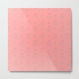 Cherries in Pink Metal Print