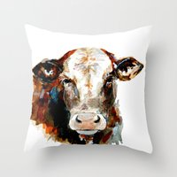 craftberrybush Throw Pillows featuring  Cow watercolor by craftberrybush