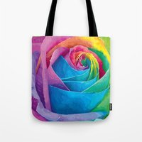 rose Tote Bags featuring Rose  by Aloke Design