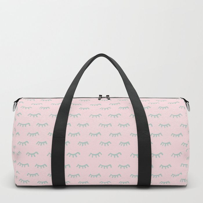 Small Pink Sleeping Eyes Of Wisdom - Pattern - Mix & Match With Simplicity Of Life Duffle Bag