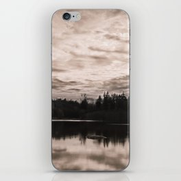Bright Clouds Reflecting on Calm Water in Sepia iPhone Skin