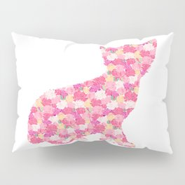 Kitten Silhouette with Peony Flowers Inlay Pillow Sham