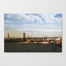 A HELICOPTER IN HER SKY, A SEAGULL ON HIS BRIDGE Canvas Print