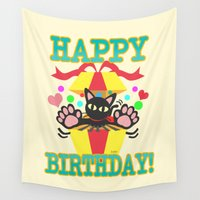 happy birthday Wall Tapestries featuring Happy Birthday! by BATKEI
