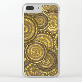 Circular Ethnic  pattern pastel gold Clear iPhone Case